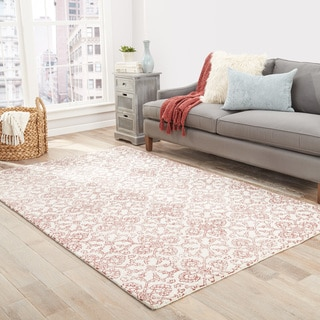 Cadiz Handmade Damask Red/ Light Gray Area Rug (2' X 3')