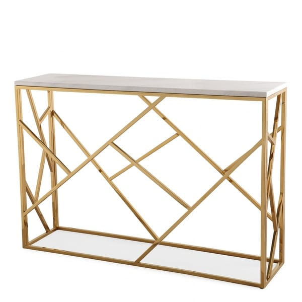 Gayle Ivory/Goldtone Marble/Stainless Steel Console Table
