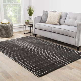 Loran Handmade Stripe Gray/ White Area Rug (2' X 3')