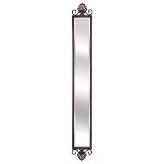 Benzara Brown Metal and Glass Narrow Accent Mirror