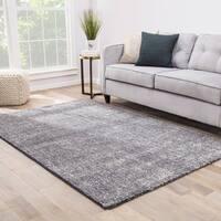 Kensington Handmade Solid Dark Gray/ Light Gray Area Rug - 2' x 3'