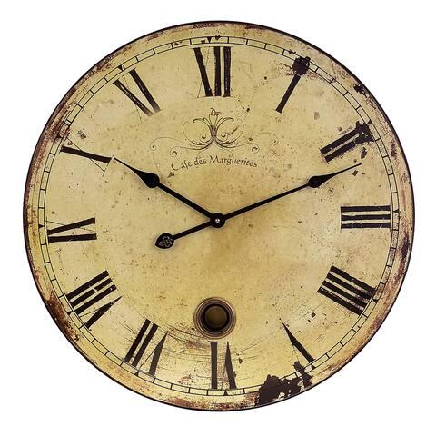 Beautifully Rustic Large Wall Clock with Pendulum