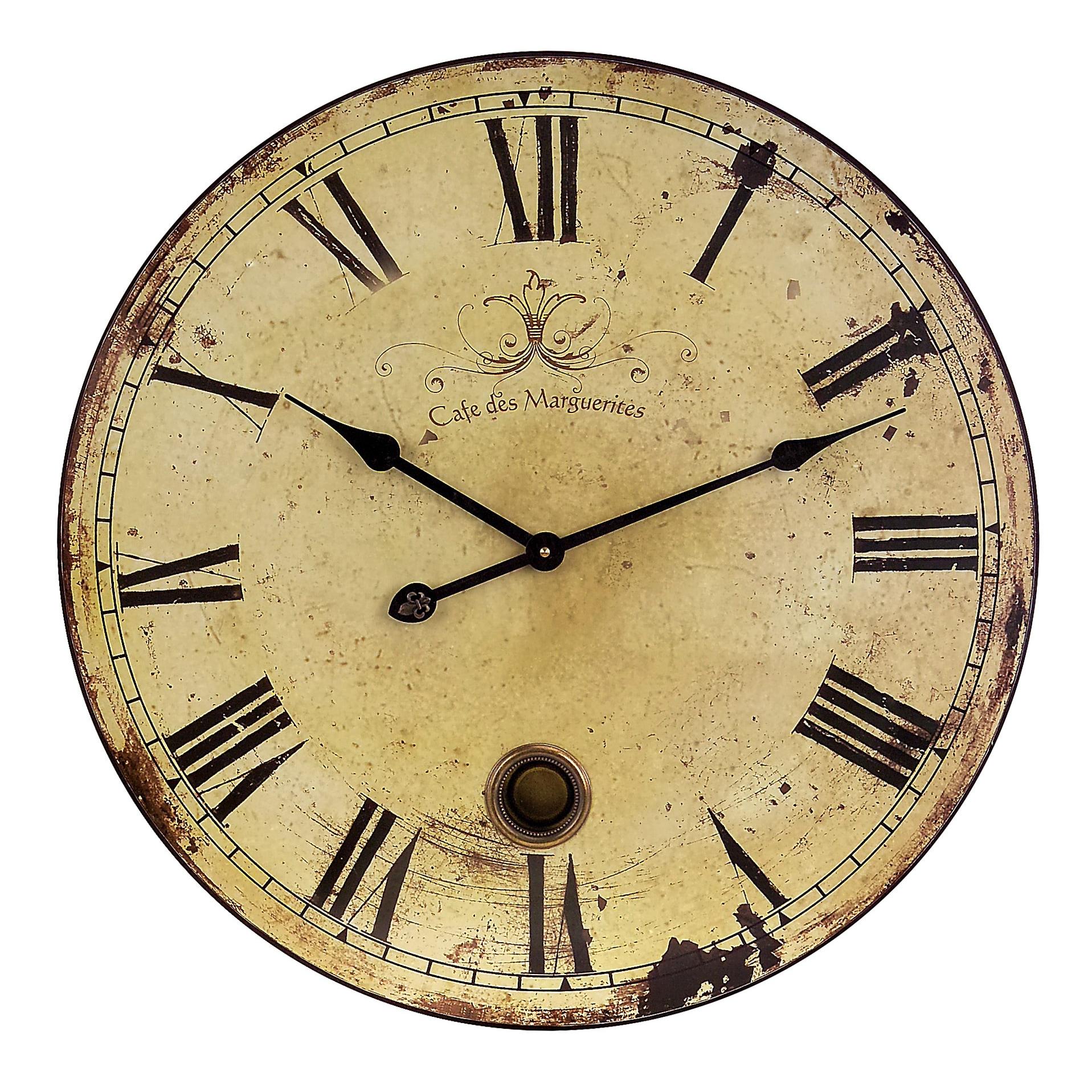 Benzara Beautifully Rustic Large Wall Clock with Pendulum...