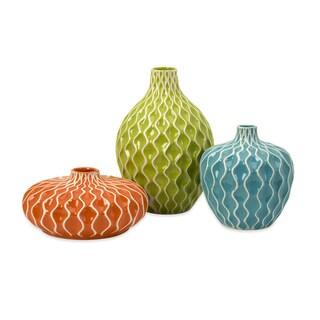 Pricelessly Colorful Set of 3 Agatha Ceramic Vases
