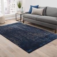 Sonar Handmade Stripe Blue/ Taupe Area Rug - 2' x 3'
