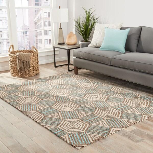 Shop Kida Indoor/ Outdoor Geometric Brown/ Aqua Area Rug