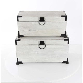 Benzara Wood Trunks (Set of 2)
