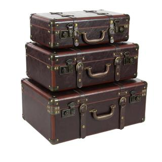 Stunning Wood Leather Trunks, Set Of 3