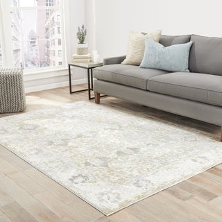 Elspeth Bordered Gray/ Blue Area Rug (2' X 3')