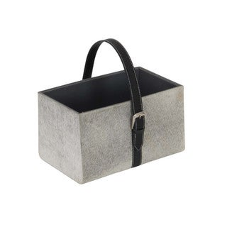 Benzara Classic Grey Wood and Leather Magazine Holder