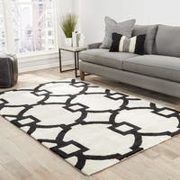 Bronx Handmade Trellis White/ Black Area Rug (2' X 3') - 2' x 3'