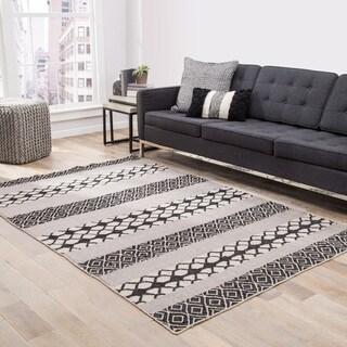 Chandler Indoor/ Outdoor Geometric Black/ Gray Area Rug - 2' x 3'
