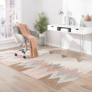Tectonic Indoor/ Outdoor Geometric Pink / Gray Area Rug (2' X 3')