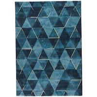 Jaeger Geometric Dark Blue/ Indigo Area Rug (2' X 3') - 2' x 3'