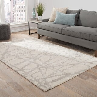 Nikki Chu Avondale Handmade Abstract White/ Gray Area Rug (2' X 3') - 2' x 3'