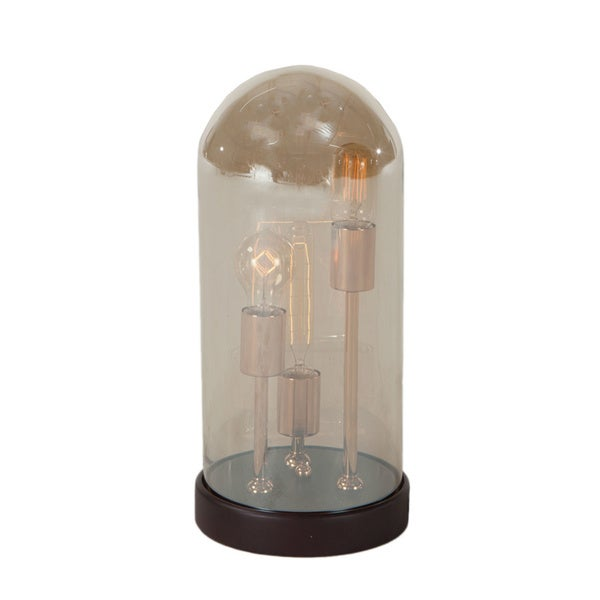 Brown Wood and Amber Glass Edison Bulb Cloche Lamp