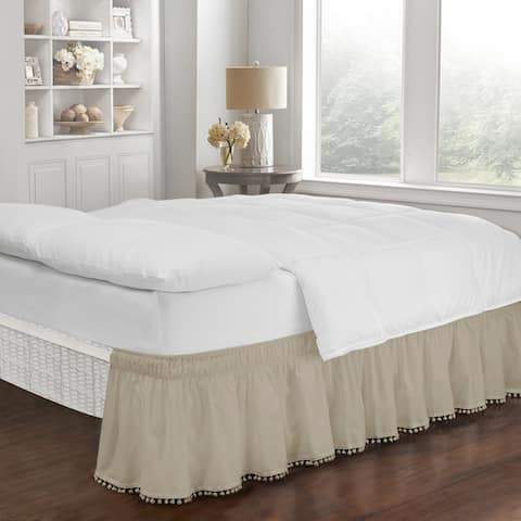 Copper Grove Nucifera Adjustable Pom Pom Fringe Bed Skirt