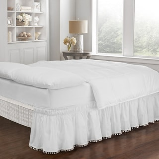 EasyFit Adjustable Pom Pom Fringe Bed Skirt
