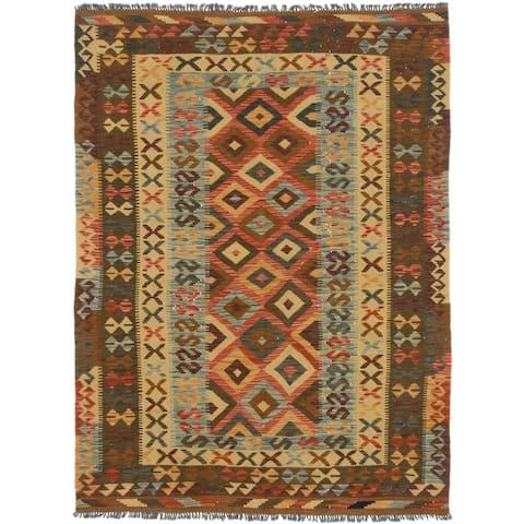Flat-weave Hereke FW Copper, Gold Wool Kilim - 5'0 x 6'9