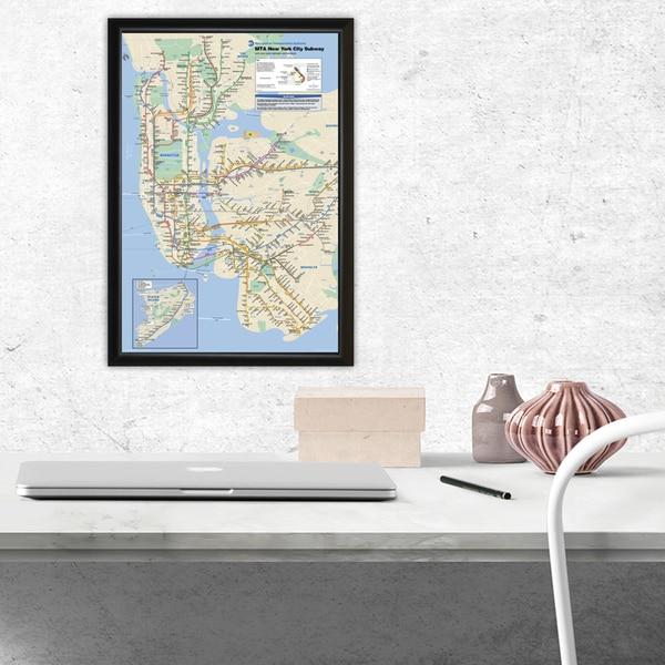 Nyc Subway Map Print.Nyc Subway Map Framed 11x17 Print