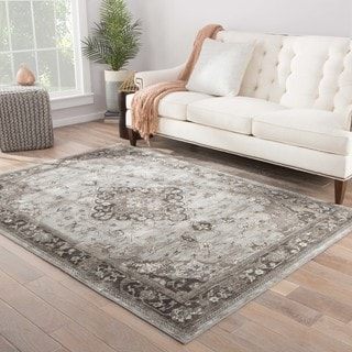 The Curated Nomad Mull Isle Medallion Grey/ Brown area Rug - 2' x 3'