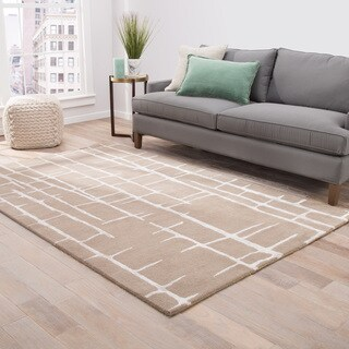 Hawthorn Handmade Abstract Taupe/ Silver Area Rug (2' X 3')
