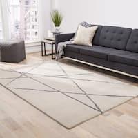 Declan Handmade Abstract Beige/ Silver Area Rug (2' X 3') - 2' x 3'