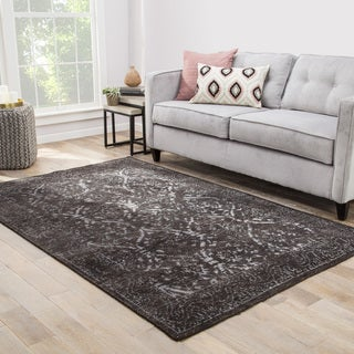 Jolie Hand-Knotted Trellis Dark Gray/ Silver Area Rug (2' X 3')