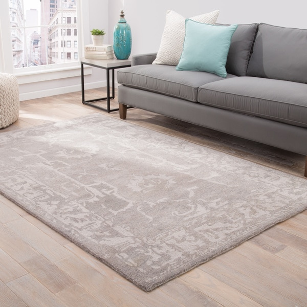 Aster Handmade Abstract Gray Area Rug (2' X 3')