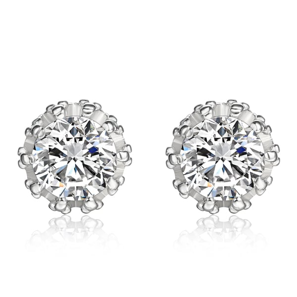 a41febbbb133e Shop CZ STUD EARRINGS IN UNIQUE CROWN DESIGN SETTING - Free Shipping ...