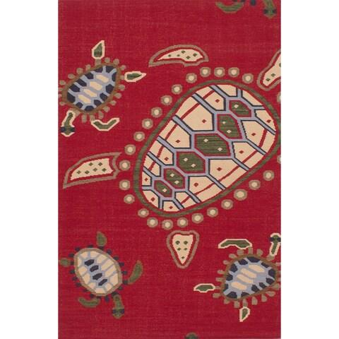 ecarpetgallery Flatweave Tortuga Red Wool Kilim Rug - 5'0 x 8'0