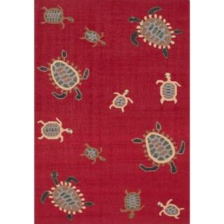 ecarpetgallery Flatweave Tortuga Red Wool Kilim (5'0 x 8'0)