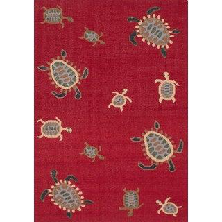 ecarpetgallery Flatweave Tortuga Red Wool Kilim (6'0 x 9'0)