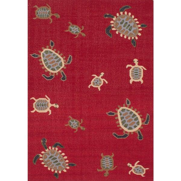 ecarpetgallery Flatweave Tortuga Red Wool Kilim Rug - 6'0 x 9'0