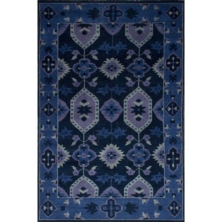 eCarpetGallery Eternity Blue Wool Hand-knotted Rug (5'5 x 8'3)