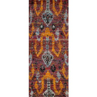 ecarpetgallery Hand-Knotted Red Sari Silk Rug (3'0 x 7'8)