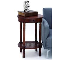 Urban Designs Madison Brown Wood Round 1-drawer Accent Table