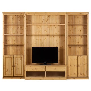 Anita Natural Solid Pine 86-inch Tall 6-piece TV Wall Unit