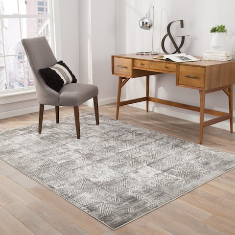 Gadsen Geometric Dark Gray/ White Area Rug - 2' x 3'