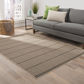Blair Indoor/ Outdoor Stripe Black/ Beige Area Rug (2' X 3')
