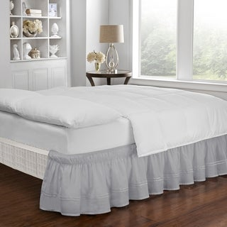 Copper Grove Barron River Easy Fit Adjustable Baratta Stitch Embroidered 18-inch Drop Bed Skirt