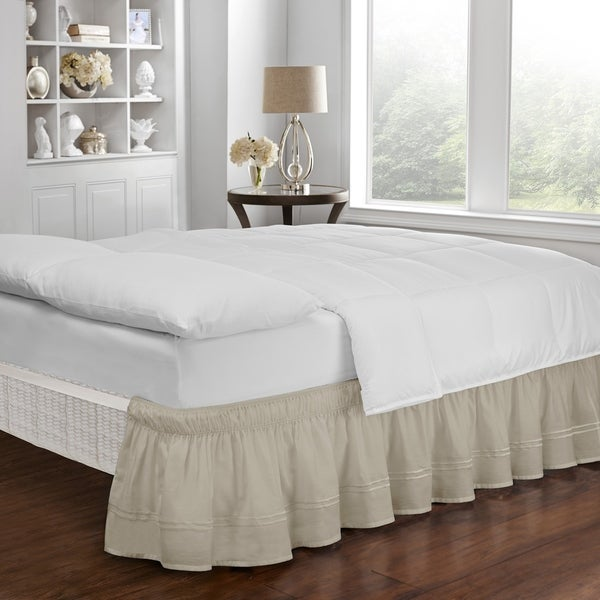 Easy Fit Adjustable Baratta Stitch Embroidered 18-inch Drop Bed Skirt