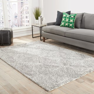Thurston Handmade Geometric White/ Dark Gray Area Rug - 2' x 3'