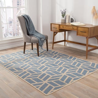 Reagen Indoor/ Outdoor Geometric Blue/ Beige Area Rug (2' X 3')