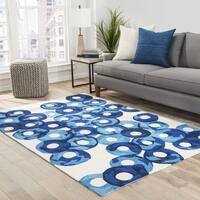 Zelle Indoor/ Outdoor Abstract Blue/ Ivory Area Rug (2' X 3') - 2' x 3'