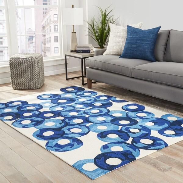Zelle Indoor/ Outdoor Abstract Blue/ Ivory Area Rug - 2' x 3'