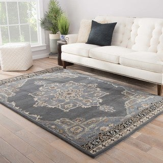 Zahra Handmade Medallion Gray/ Cream Area Rug (2' X 3') - Thumbnail 0