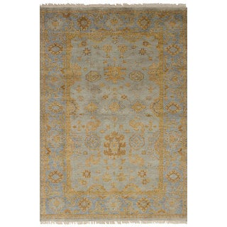 ecarpetgallery Hand-Knotted Royal Ushak Green  Wool Rug (4'0 x 6'0)