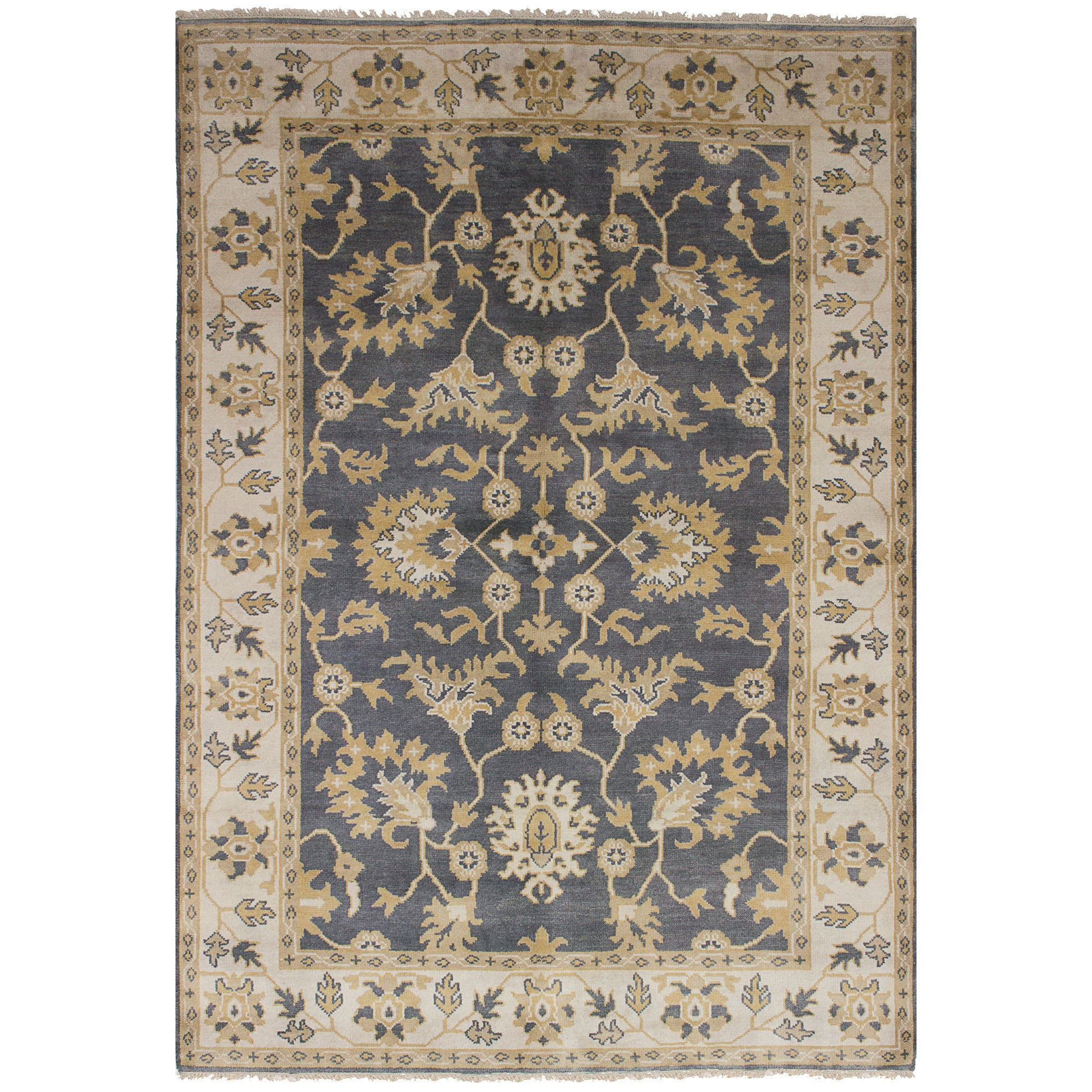 eCarpetGallery Hand-knotted Royal Ushak Grey Wool and Cotton Rug - 61 x 90 (Grey Dark Grey Rug (6 x 9))