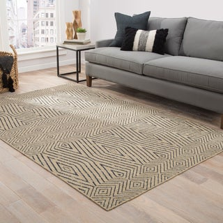 Lacuna Handmade Geometric Tan/ Dark Grey Area Rug (2' x 3')
